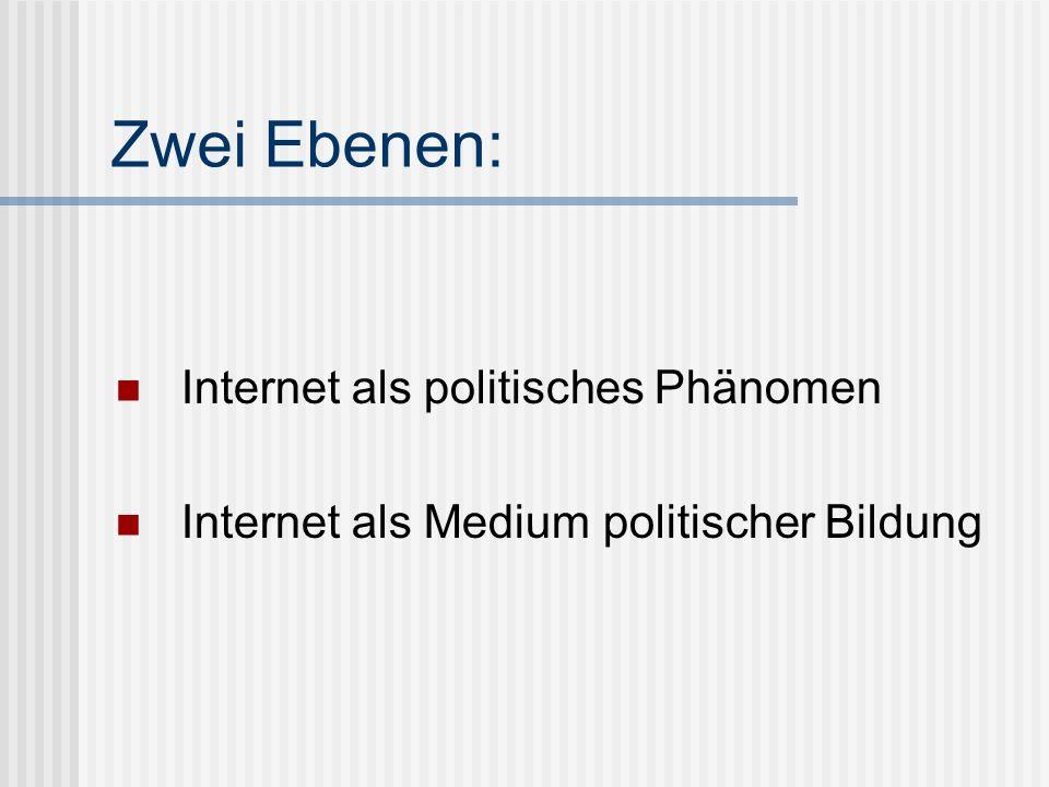 Zwei Ebenen: Internet als politisches Phänomen Internet als Medium politischer Bildung