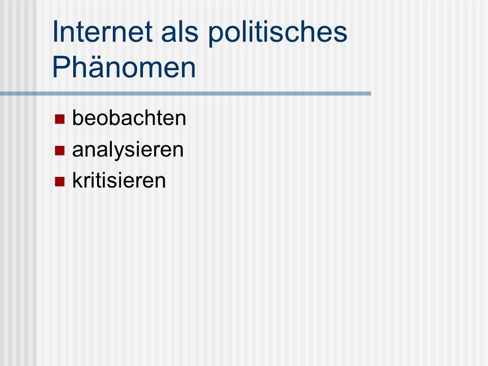 Internet als politisches Phänomen beobachten analysieren kritisieren