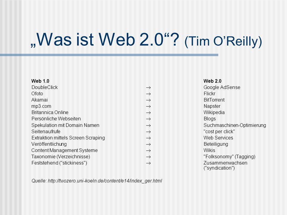 Was ist Web 2.0? (Tim OReilly) Web 1.0 Web 2.0 DoubleClick Google AdSense Ofoto Flickr Akamai BitTorrent mp3.com Napster Britannica Online Wikipedia P