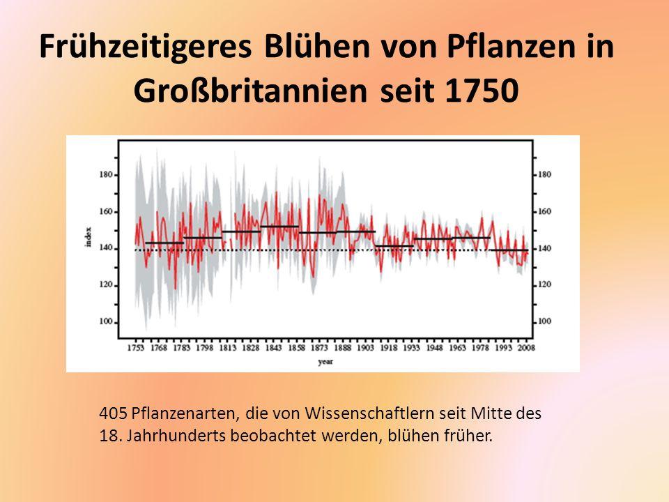 Verschiebung des für Pflanzen günstigen Klimas nach Norden In der kurzen Zeit seit 1990 hat sich in den USA die Region mit für Pflanzen günstigem Klima sichtbar nach Norden verschoben.