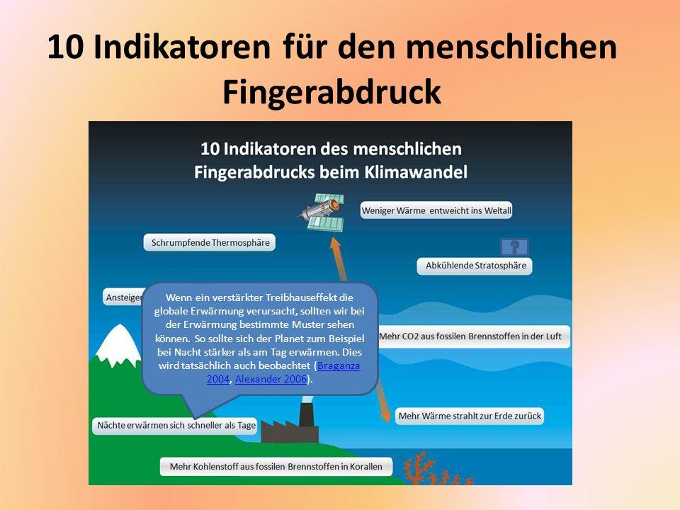 10 Indikatoren für den menschlichen Fingerabdruck Ein anderes unverkennbares Muster der Treibhauserwärmung ist eine Abkühlung in der oberen Atmosphäre, die auch als Stratosphäre bezeichnet wird.