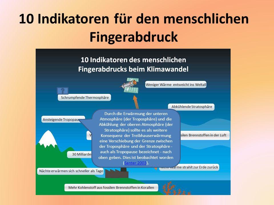 10 Indikatoren für den menschlichen Fingerabdruck Eine noch höher gelegene Schicht der Atmosphäre, die Ionosphäre, sollte sich als Reaktion auf die Treibhauserwärmung abkühlen und zusammenziehen.