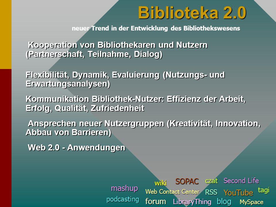 Kooperation von Bibliothekaren und Nutzern (Partnerschaft, Teilnahme, Dialog) Kooperation von Bibliothekaren und Nutzern (Partnerschaft, Teilnahme, Di