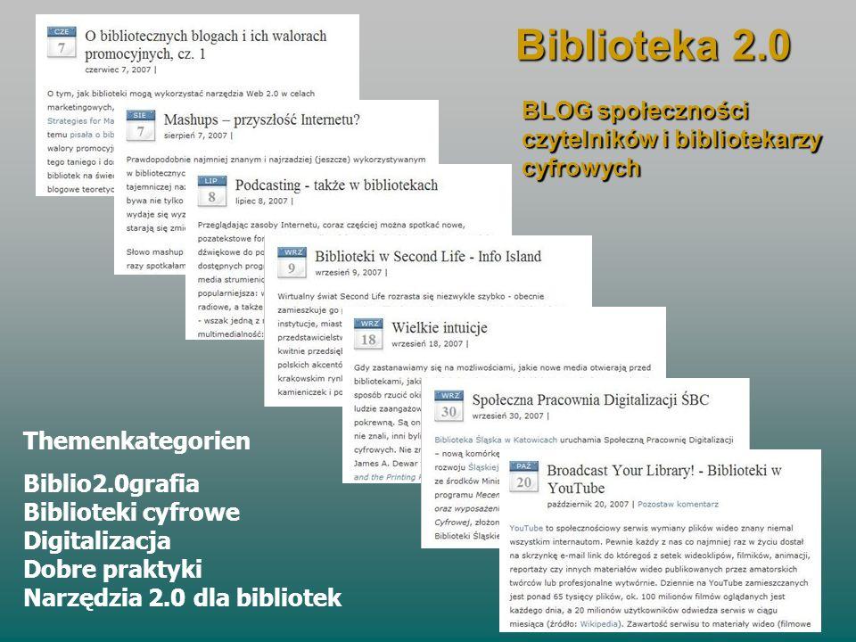 Biblioteka 2.0 BLOG społeczności czytelników i bibliotekarzy cyfrowych Themenkategorien Biblio2.0grafia Biblioteki cyfrowe Digitalizacja Dobre praktyk