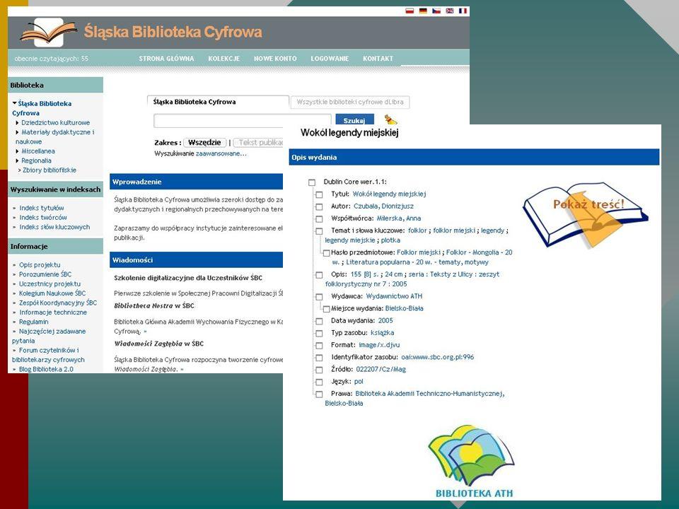 Biblioteka 2.0 FORUM der Community der digitalen Bibliothekare und Nutzer Kommunikationsplattform der verschiedenen digitalen Bibliotheken in Polen (virtuelle Zusammenführung mehrbändiger Werke, Austausch von Informationen, Dublettenvermeidung, schrittweise Vereinheitlichung der Erschließungsmethoden) Dialog und Zusammenarbeit mit den Nutzern (Digitalisierungsvorschläge) Einführung der Idee der Bibliothek 2.0 und neuer Technologien in Polen Animation der Bibliothekare http://forum.biblioteka20.pl