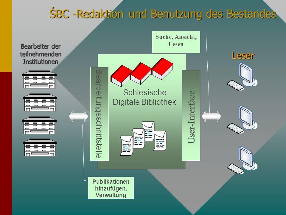 ŚBC -Redaktion und Benutzung des Bestandes Publikationen hinzufügen, Verwaltung Suche, Ansicht, Lesen Bearbeitungsschnittstelle User-Interface Schlesi