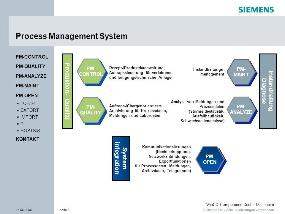 © Siemens AG 2008 - Änderungen vorbehalten WinCC Competence Center Mannheim 15.08.2008Seite 2 Process Management System PM- CONTROL PM- CONTROL PM- QU