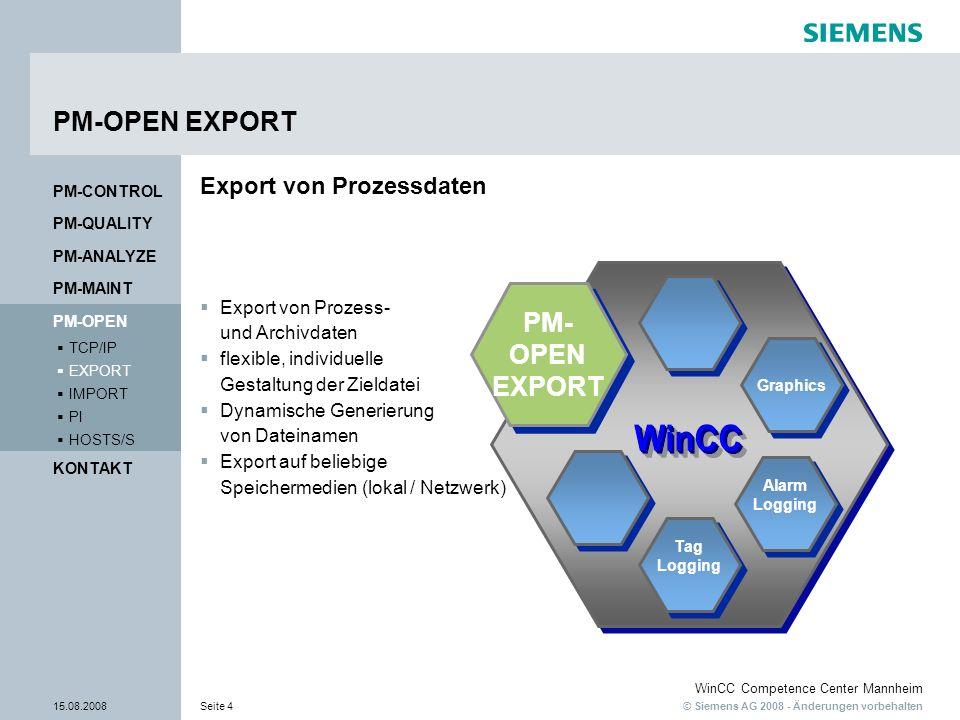 © Siemens AG 2008 - Änderungen vorbehalten WinCC Competence Center Mannheim 15.08.2008Seite 5 Neue Features V 7.0 Unterstützung von WinCC Version 7 Unterstützung von Windows Vista Export neuer Meldeblöcke Export des letzten Wertes bei der Exportart Prozesswertarchiv- Tabelle Datencache für Anwenderarchiv Daten Dynamische Zeitselektion mit dem PM-OPEN EXPORT ActiveX Erhöhung der Performance beim Meldeexport PM-QUALITY PM-CONTROL PM-MAINT PM-ANALYZE KONTAKT HOSTS/S PI IMPORT EXPORT TCP/IP PM-OPEN