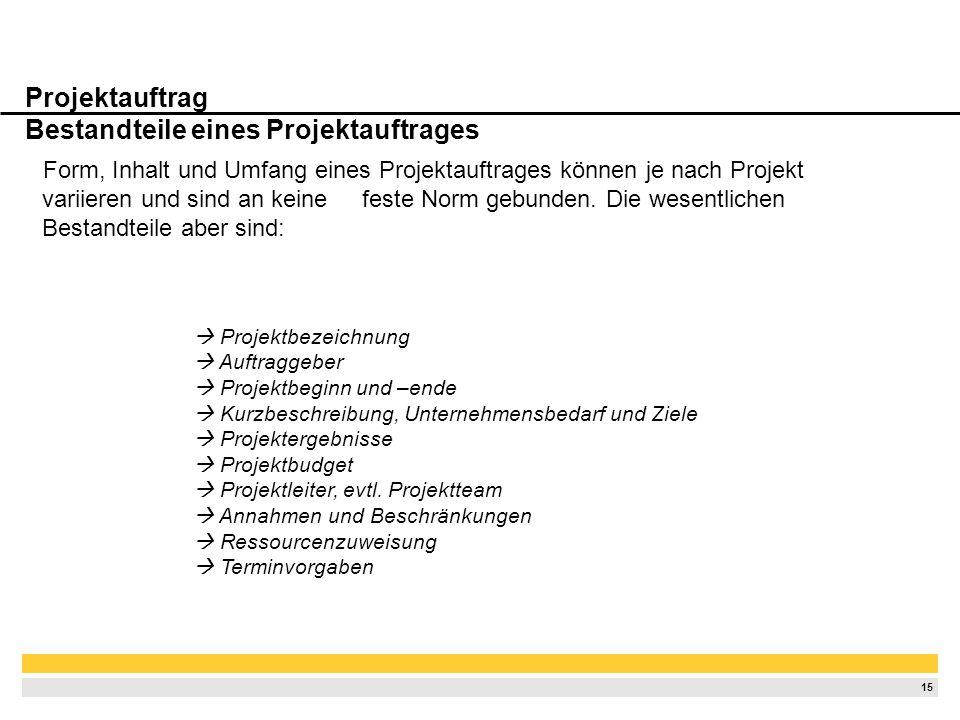 14 Projektauftrag Funktion im Projektmanagement Projektauftrag = formeller Startschuss zum Projekt Die Vorlage eines Projektauftrages ist von großer W