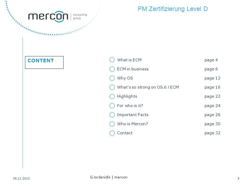 PM Zertifizierung Level D 14 G.Iordanidis   mercon 1.10 Leistungsumfang und Lieferobjekte (Deliverables) 1.