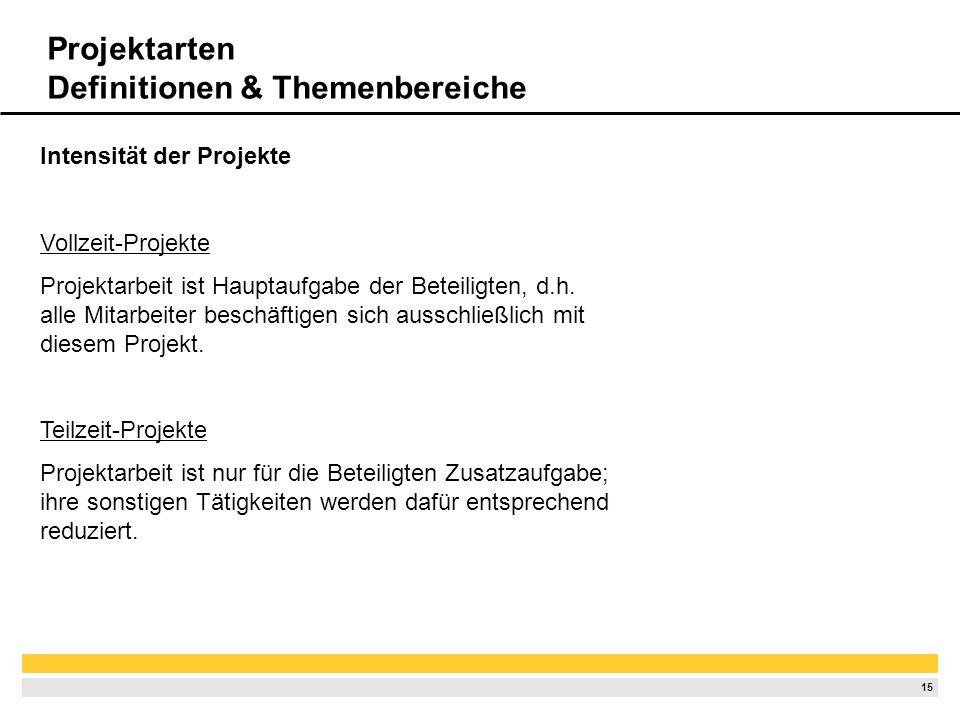 14 Unterscheidung nach Auftraggeber Externe Projekte Kundenprojekte, d.h Auftraggeber gehört nicht dem ausführenden Unternehmen an Interne Projekte Au