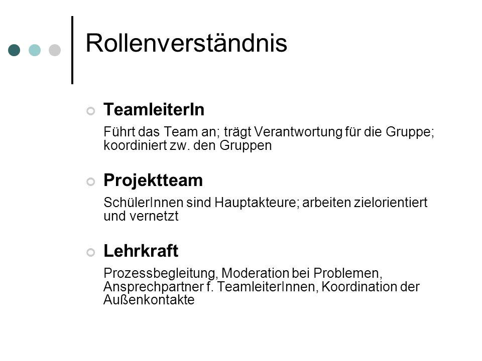 Rollenverständnis TeamleiterIn Führt das Team an; trägt Verantwortung für die Gruppe; koordiniert zw. den Gruppen Projektteam SchülerInnen sind Haupta