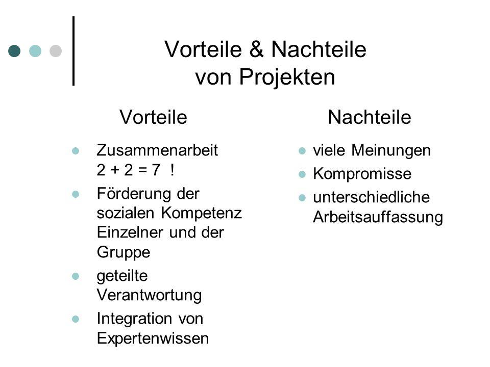 Vorteile & Nachteile von Projekten Vorteile Nachteile Zusammenarbeit 2 + 2 = 7 ! Förderung der sozialen Kompetenz Einzelner und der Gruppe geteilte Ve