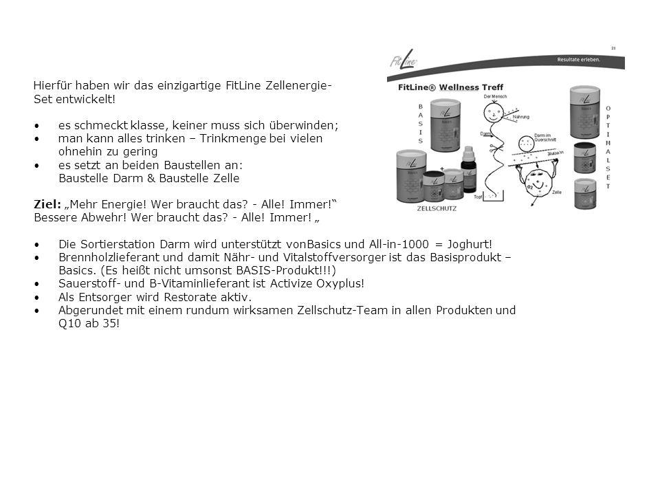 Hierfür haben wir das einzigartige FitLine Zellenergie- Set entwickelt.