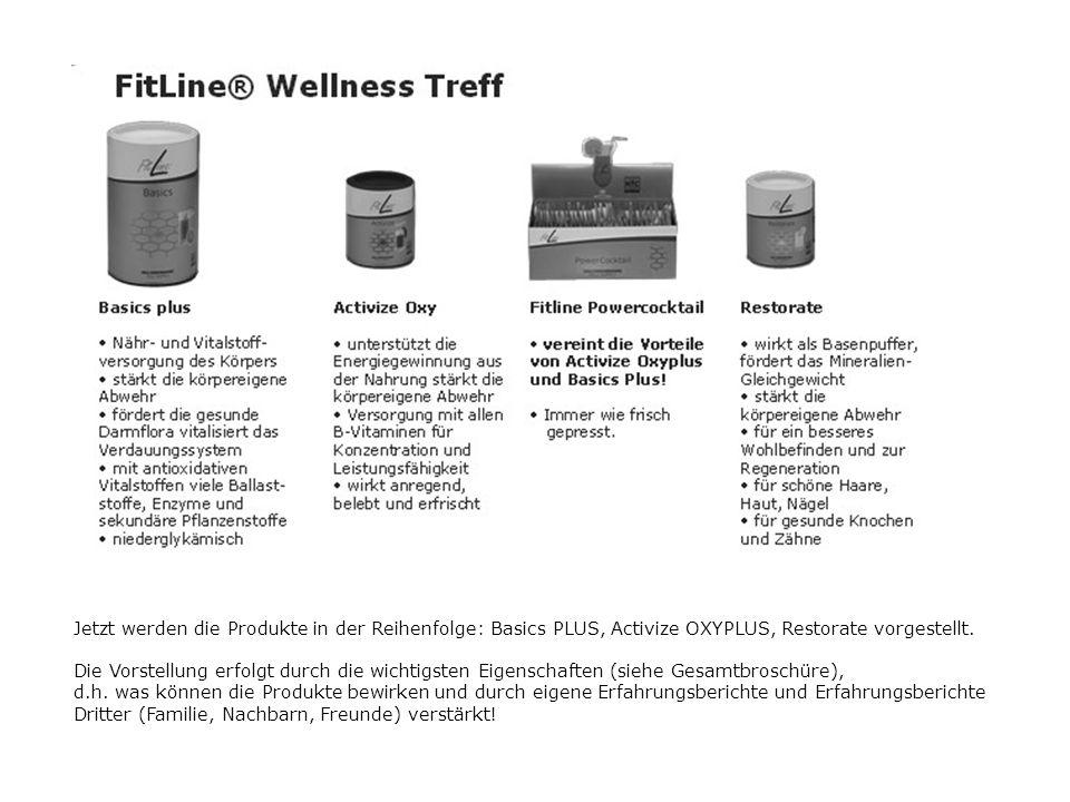Jetzt werden die Produkte in der Reihenfolge: Basics PLUS, Activize OXYPLUS, Restorate vorgestellt.