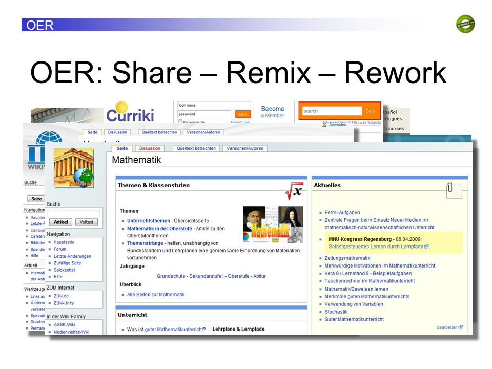 OER: Share – Remix – Rework