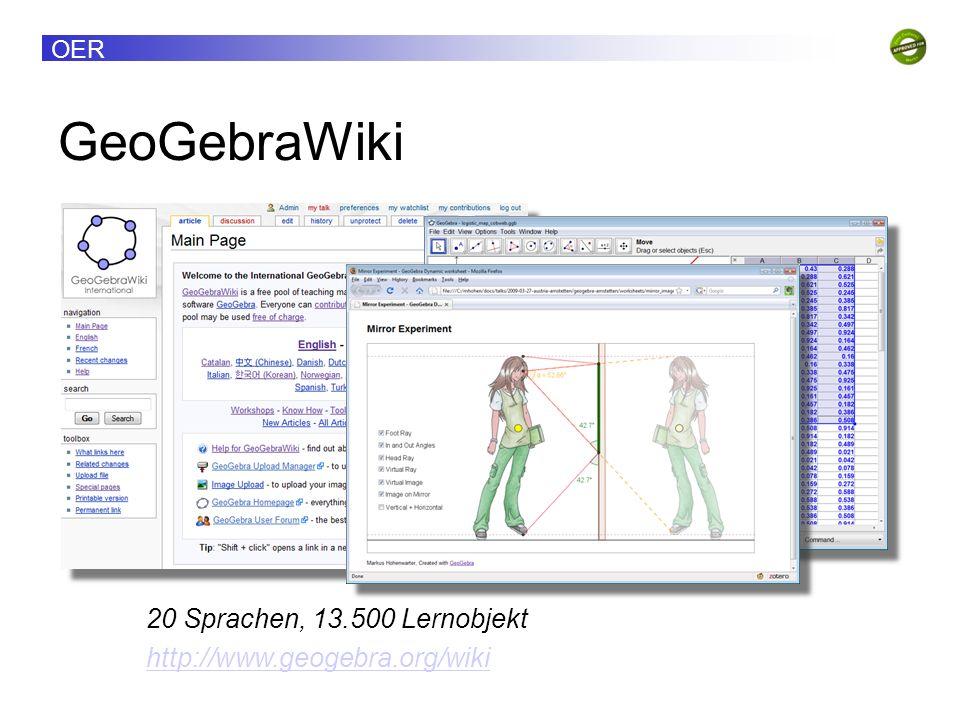 OER GeoGebraWiki 20 Sprachen, 13.500 Lernobjekt http://www.geogebra.org/wiki