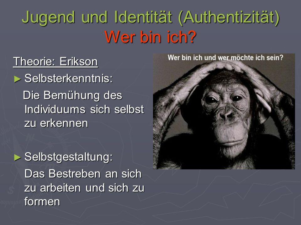 Jugend und Identität (Authentizität) Wer bin ich? Theorie: Erikson Selbsterkenntnis: Selbsterkenntnis: Die Bemühung des Individuums sich selbst zu erk