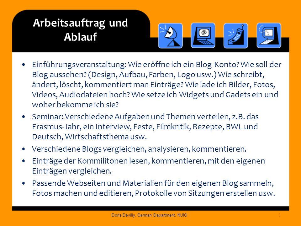 Arbeitsauftrag und Ablauf Einführungsveranstaltung: Wie eröffne ich ein Blog-Konto? Wie soll der Blog aussehen? (Design, Aufbau, Farben, Logo usw.) Wi