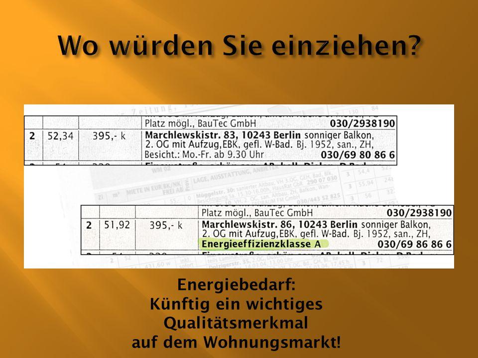 Der Endenergiebedarf ist die Energiemenge, die bei deutschlandweit gemittelten Klimaverhältnissen zur Deckung des Wärmebedarfs (Heizung und Warmwasser) einschließlich der Verluste der Anlagentechnik benötigt wird.