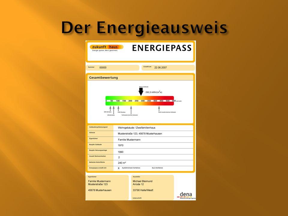 Der Energieausweis ist ein Dokument, das ein Gebäude energetisch bewertet.