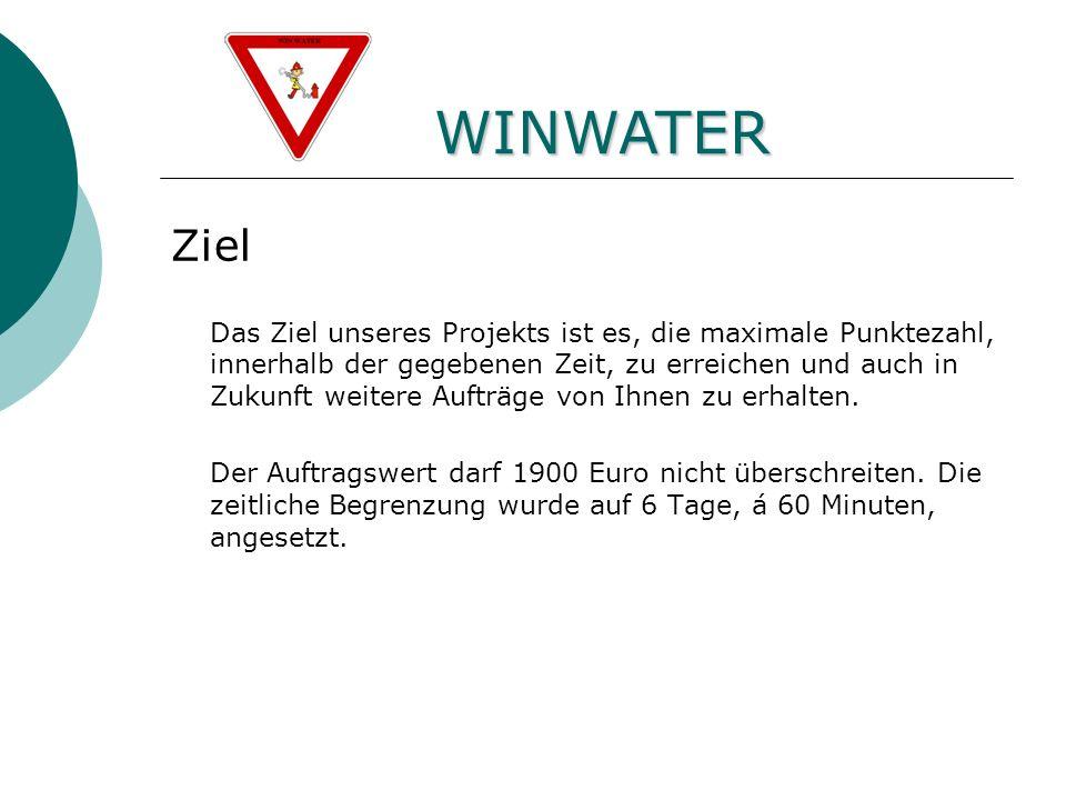 Fünfte Ebene WINWATER Ziel Das Ziel unseres Projekts ist es, die maximale Punktezahl, innerhalb der gegebenen Zeit, zu erreichen und auch in Zukunft weitere Aufträge von Ihnen zu erhalten.