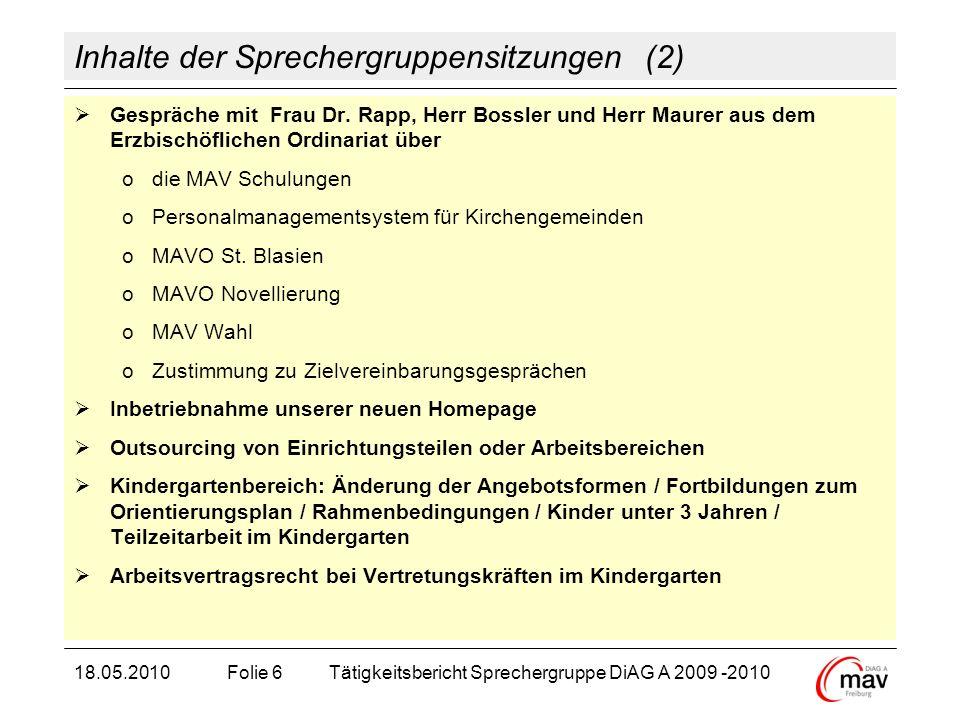 Inhalte der Sprechergruppensitzungen (2) Gespräche mit Frau Dr. Rapp, Herr Bossler und Herr Maurer aus dem Erzbischöflichen Ordinariat über odie MAV S