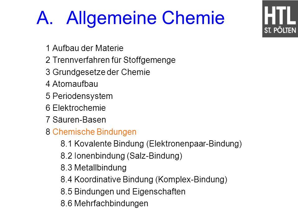 1 Aufbau der Materie 2 Trennverfahren für Stoffgemenge 3 Grundgesetze der Chemie 4 Atomaufbau 5 Periodensystem 6 Elektrochemie 7 Säuren-Basen 8 Chemis