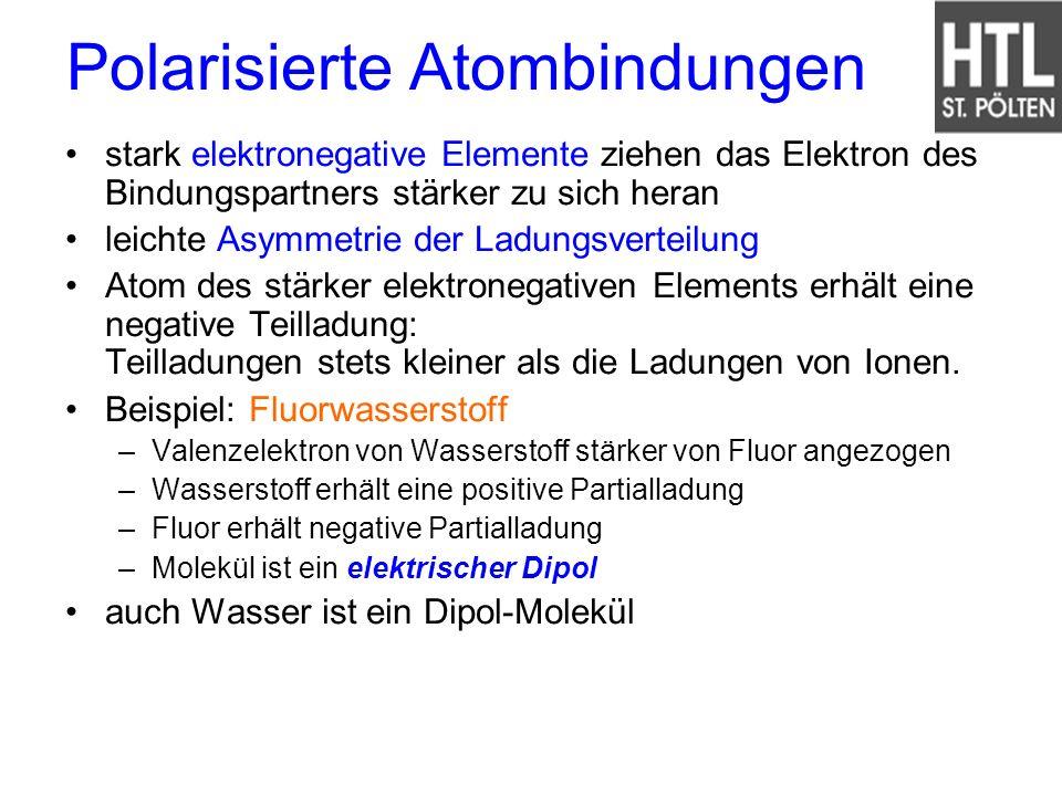 Polarisierte Atombindungen stark elektronegative Elemente ziehen das Elektron des Bindungspartners stärker zu sich heran leichte Asymmetrie der Ladung