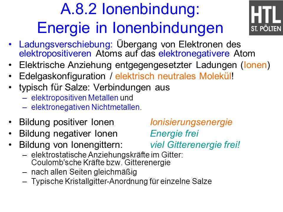 A.8.2 Ionenbindung: Energie in Ionenbindungen Ladungsverschiebung: Übergang von Elektronen des elektropositiveren Atoms auf das elektronegativere Atom