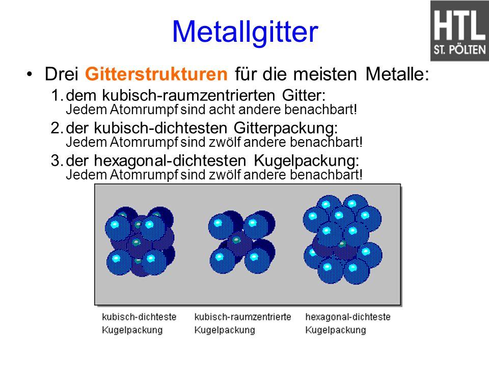 Metallgitter Drei Gitterstrukturen für die meisten Metalle: 1.dem kubisch-raumzentrierten Gitter: Jedem Atomrumpf sind acht andere benachbart! 2.der k