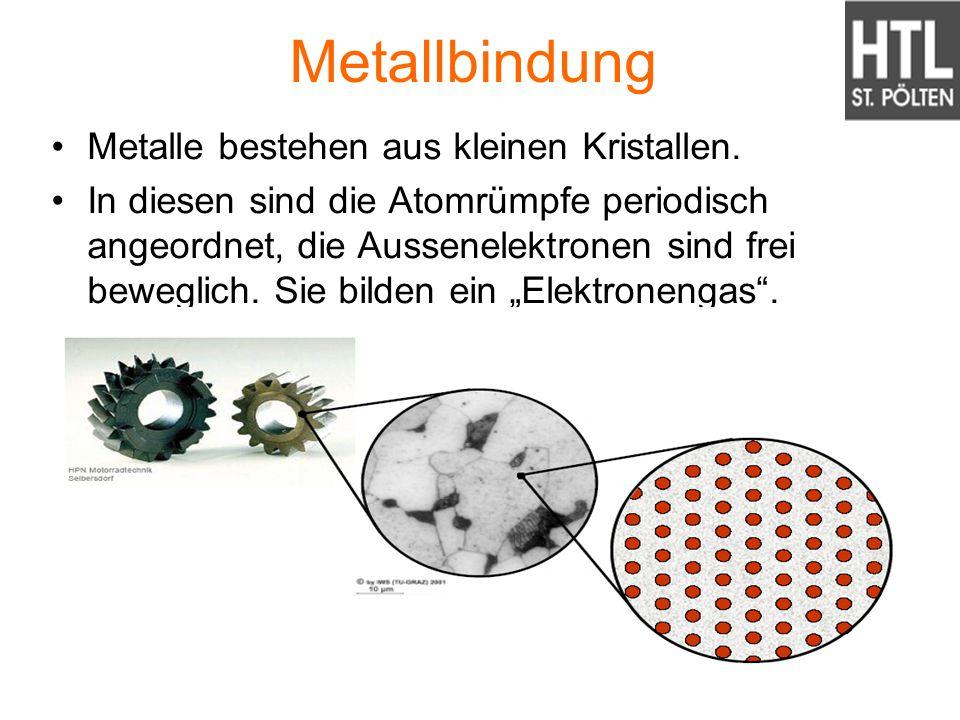 Metallbindung Metalle bestehen aus kleinen Kristallen. In diesen sind die Atomrümpfe periodisch angeordnet, die Aussenelektronen sind frei beweglich.