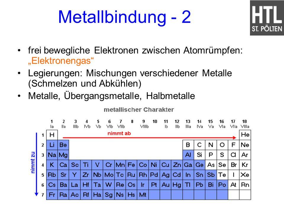 Metallbindung - 2 frei bewegliche Elektronen zwischen Atomrümpfen: Elektronengas Legierungen: Mischungen verschiedener Metalle (Schmelzen und Abkühlen
