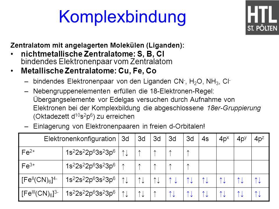 Komplexbindung Zentralatom mit angelagerten Molekülen (Liganden): nichtmetallische Zentralatome: S, B, Cl bindendes Elektronenpaar vom Zentralatom Met