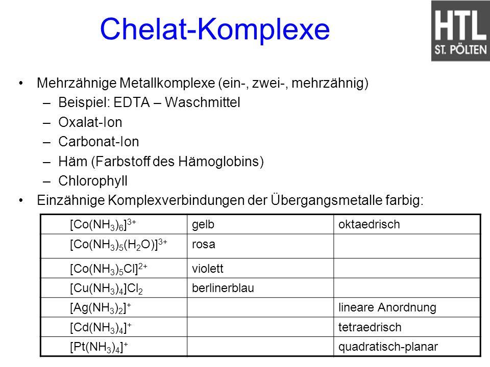 Chelat-Komplexe Mehrzähnige Metallkomplexe (ein-, zwei-, mehrzähnig) –Beispiel: EDTA – Waschmittel –Oxalat-Ion –Carbonat-Ion –Häm (Farbstoff des Hämog
