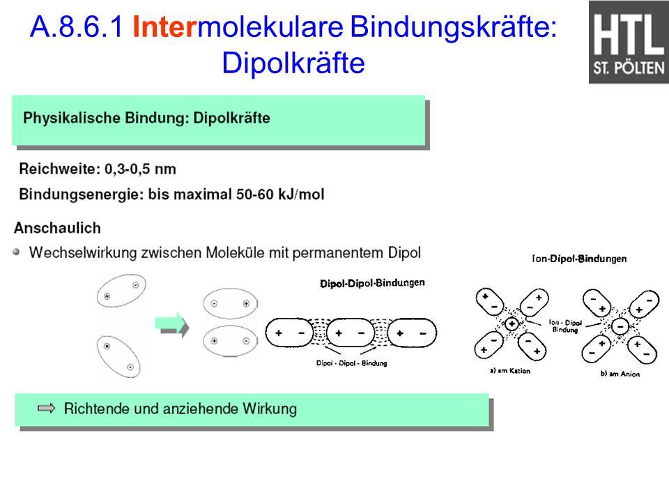 A.8.6.1 Intermolekulare Bindungskräfte: Dipolkräfte