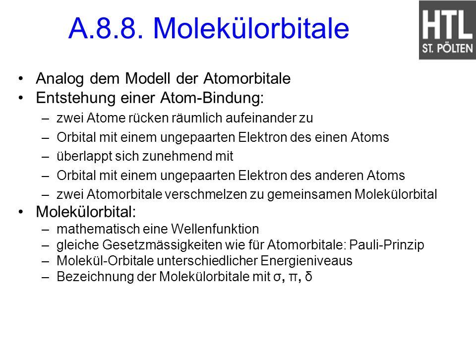 A.8.8. Molekülorbitale Analog dem Modell der Atomorbitale Entstehung einer Atom-Bindung: –zwei Atome rücken räumlich aufeinander zu –Orbital mit einem