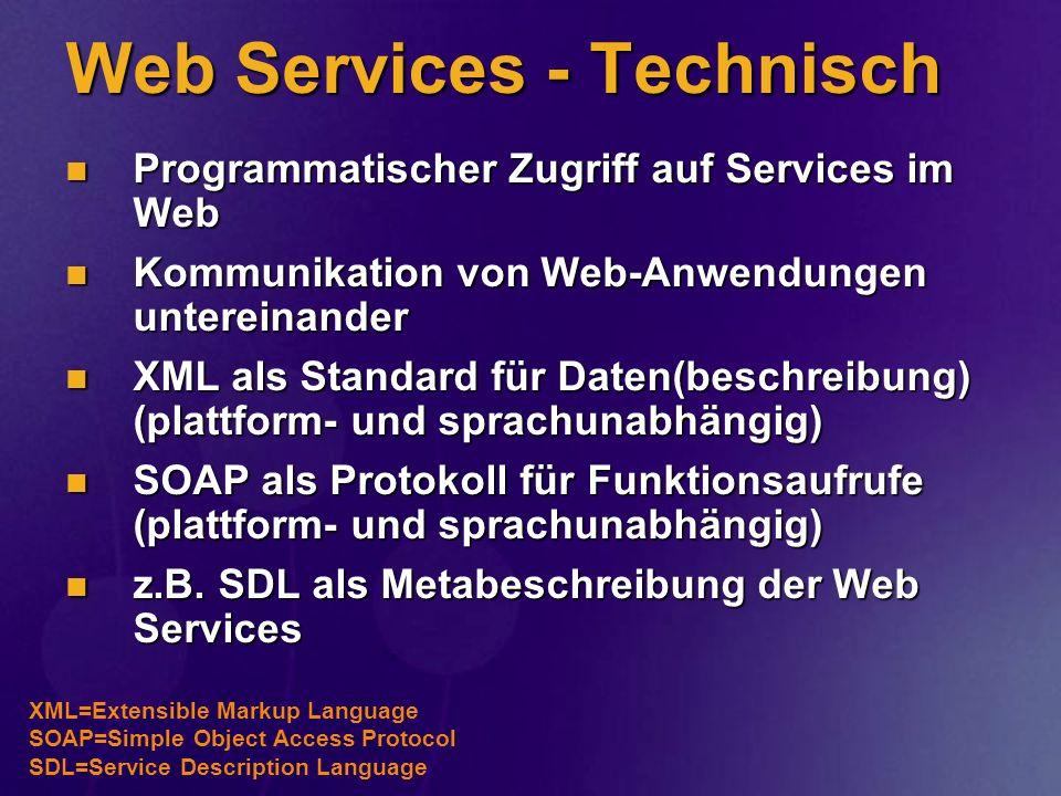 Web Services - Technisch Programmatischer Zugriff auf Services im Web Programmatischer Zugriff auf Services im Web Kommunikation von Web-Anwendungen u