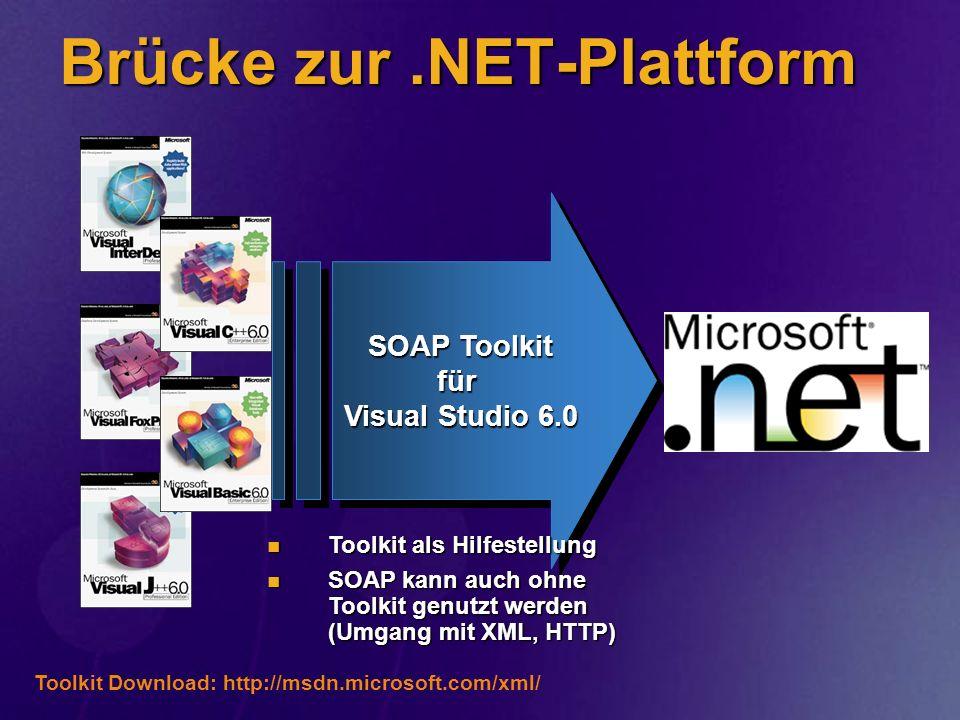 Brücke zur.NET-Plattform SOAP Toolkit für Visual Studio 6.0 Toolkit Download: http://msdn.microsoft.com/xml/ Toolkit als Hilfestellung Toolkit als Hil