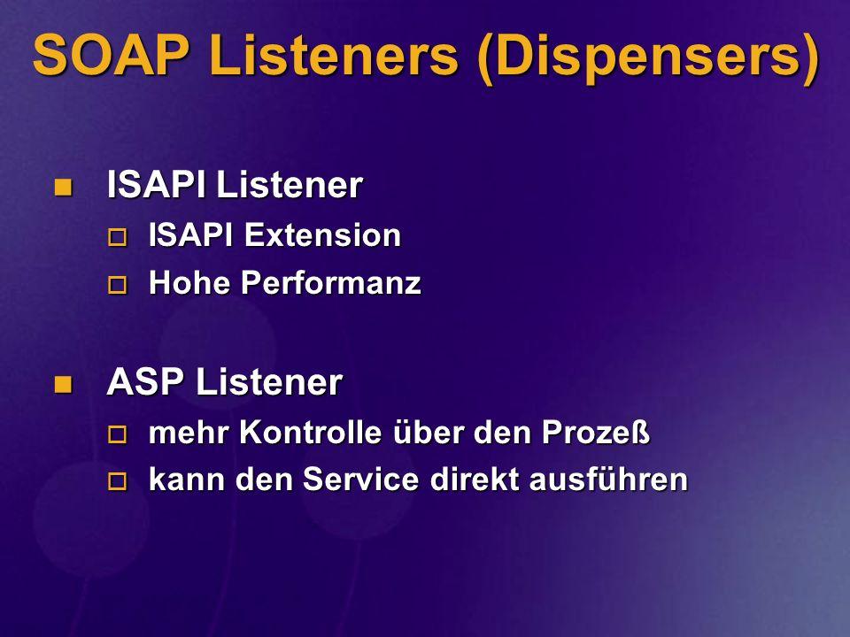 SOAP Listeners (Dispensers) ISAPI Listener ISAPI Listener ISAPI Extension ISAPI Extension Hohe Performanz Hohe Performanz ASP Listener ASP Listener me