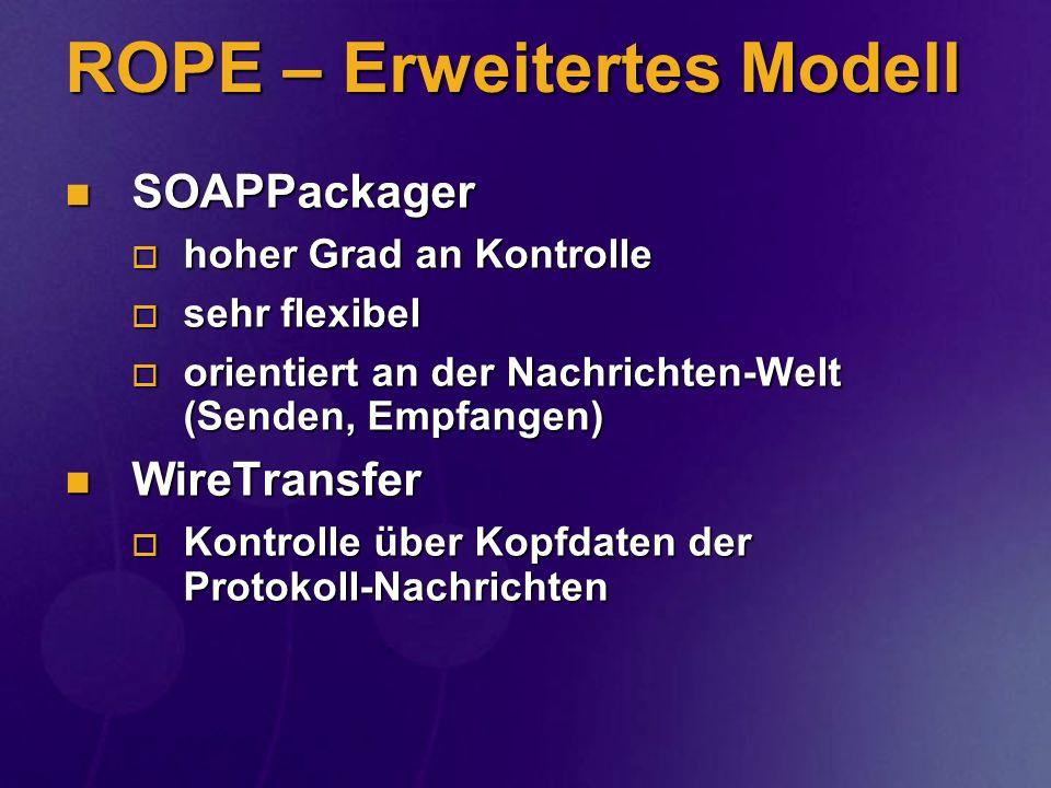 ROPE – Erweitertes Modell SOAPPackager SOAPPackager hoher Grad an Kontrolle hoher Grad an Kontrolle sehr flexibel sehr flexibel orientiert an der Nach