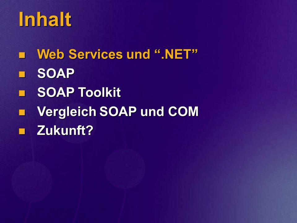 SOAP Message SOAP Envelope SOAP Header SOAP Body Message Name & Data Headers Protocol Headers Funktionsname und Parameter mit XML-Daten mit XML-Daten Individuelle Kopfinfos -Kopfinfos -Kopfinfos <Envelope>-Metainfos Kopf vom Standard-Protololl (HTTP, SMTP, etc.) und SOAP komplette SOAP Message