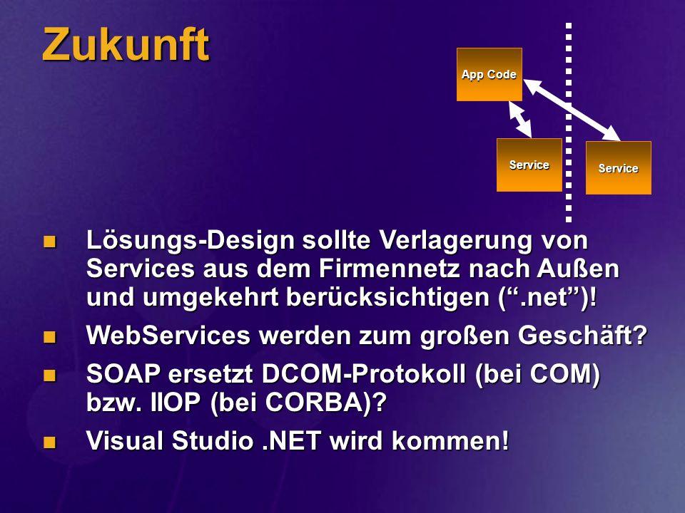 Zukunft Lösungs-Design sollte Verlagerung von Services aus dem Firmennetz nach Außen und umgekehrt berücksichtigen (.net)! Lösungs-Design sollte Verla