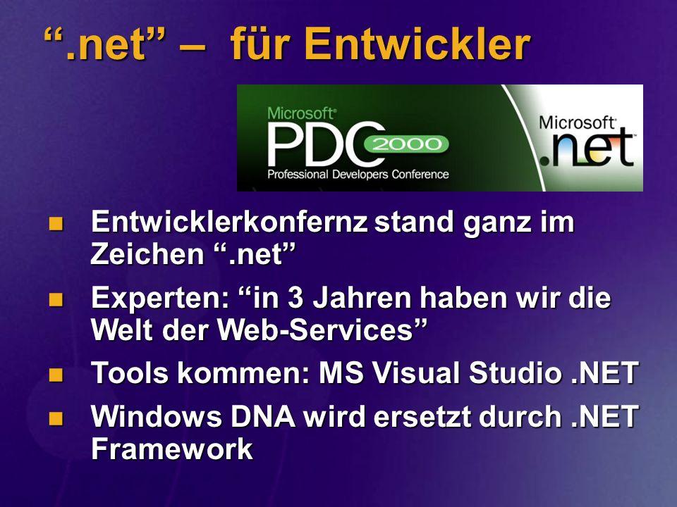 SOAP in der.NET Plattform Werkzeuge Werkzeuge ASP+, Visual Basic.NET, Visual C++.NET (ATL Server), C#, Visual FoxPro ASP+, Visual Basic.NET, Visual C++.NET (ATL Server), C#, Visual FoxPro Protokolle Protokolle MSMQ, HTTP, TCP/IP, SMTP MSMQ, HTTP, TCP/IP, SMTP SOAP ist überall in.NET