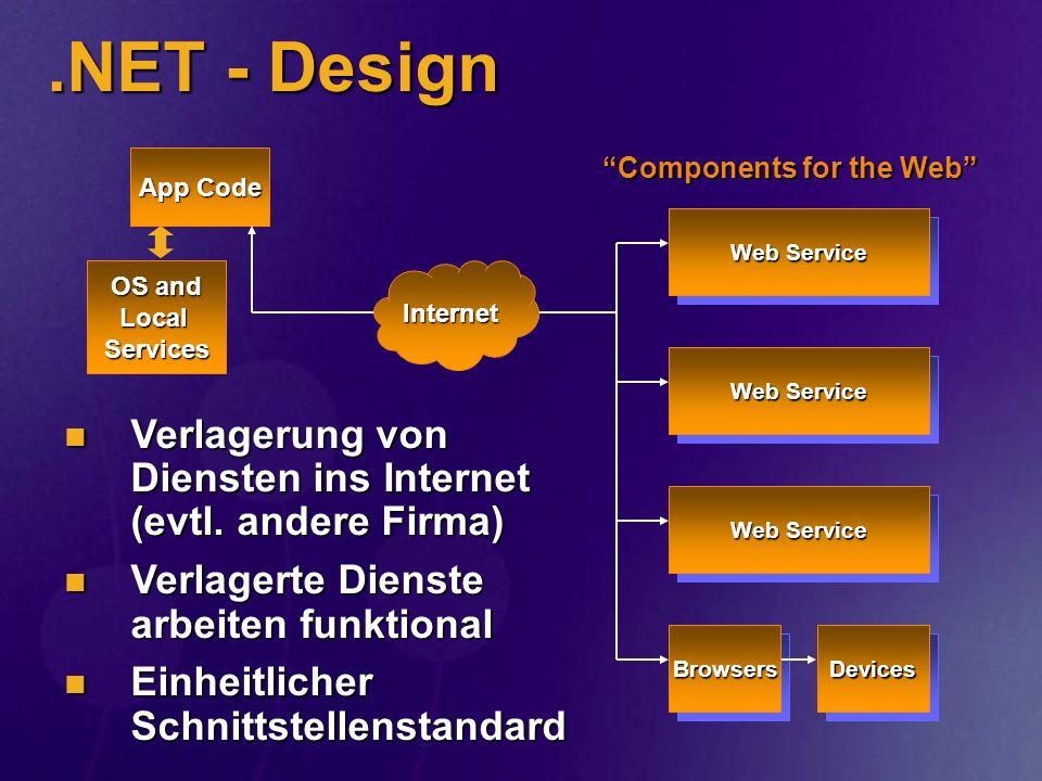 .NET - Design OS and Local Services App Code Web Service DevicesBrowsers Internet Verlagerung von Diensten ins Internet (evtl. andere Firma) Verlageru