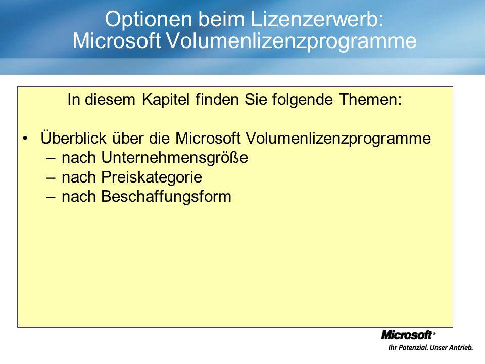 Optionen beim Lizenzerwerb: Microsoft Volumenlizenzprogramme In diesem Kapitel finden Sie folgende Themen: Überblick über die Microsoft Volumenlizenzprogramme –nach Unternehmensgröße –nach Preiskategorie –nach Beschaffungsform
