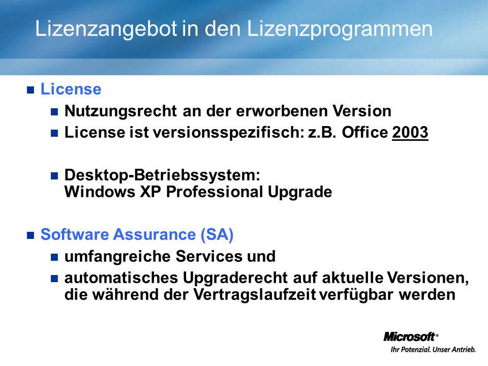 Lizenzangebot in den Lizenzprogrammen License Nutzungsrecht an der erworbenen Version License ist versionsspezifisch: z.B.