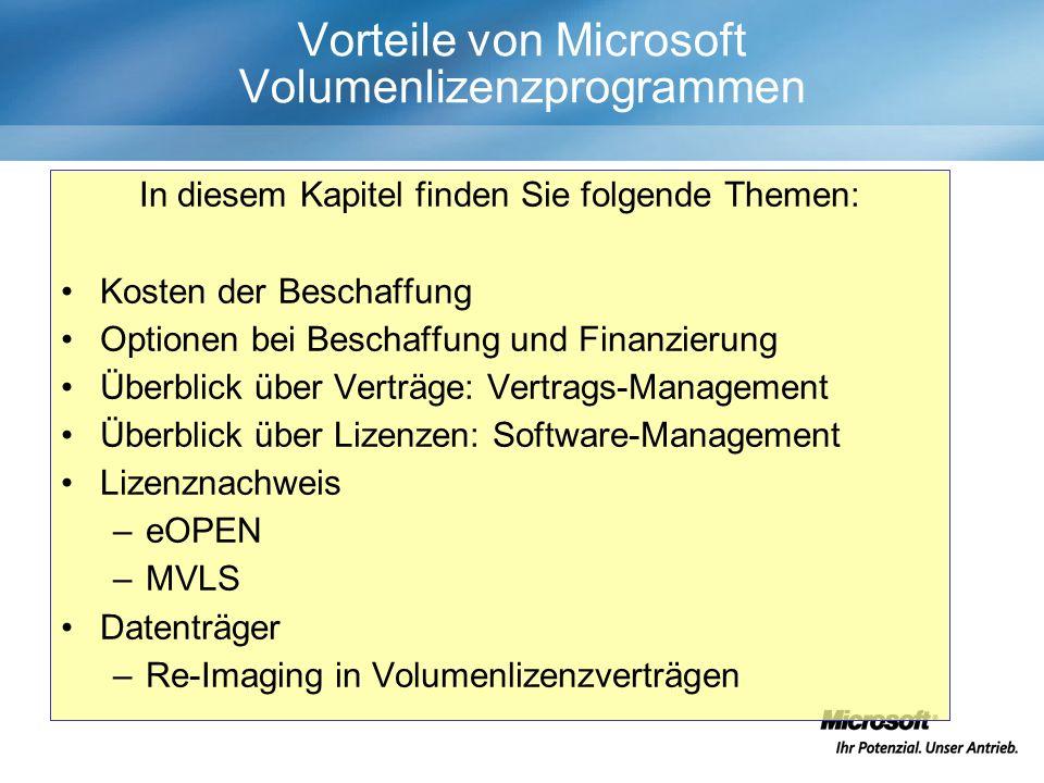 Vorteile von Microsoft Volumenlizenzprogrammen In diesem Kapitel finden Sie folgende Themen: Kosten der Beschaffung Optionen bei Beschaffung und Finanzierung Überblick über Verträge: Vertrags-Management Überblick über Lizenzen: Software-Management Lizenznachweis –eOPEN –MVLS Datenträger –Re-Imaging in Volumenlizenzverträgen