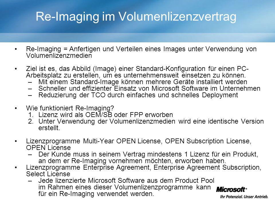 Re-Imaging im Volumenlizenzvertrag Re-Imaging = Anfertigen und Verteilen eines Images unter Verwendung von Volumenlizenzmedien Ziel ist es, das Abbild (Image) einer Standard-Konfiguration für einen PC- Arbeitsplatz zu erstellen, um es unternehmensweit einsetzen zu können.