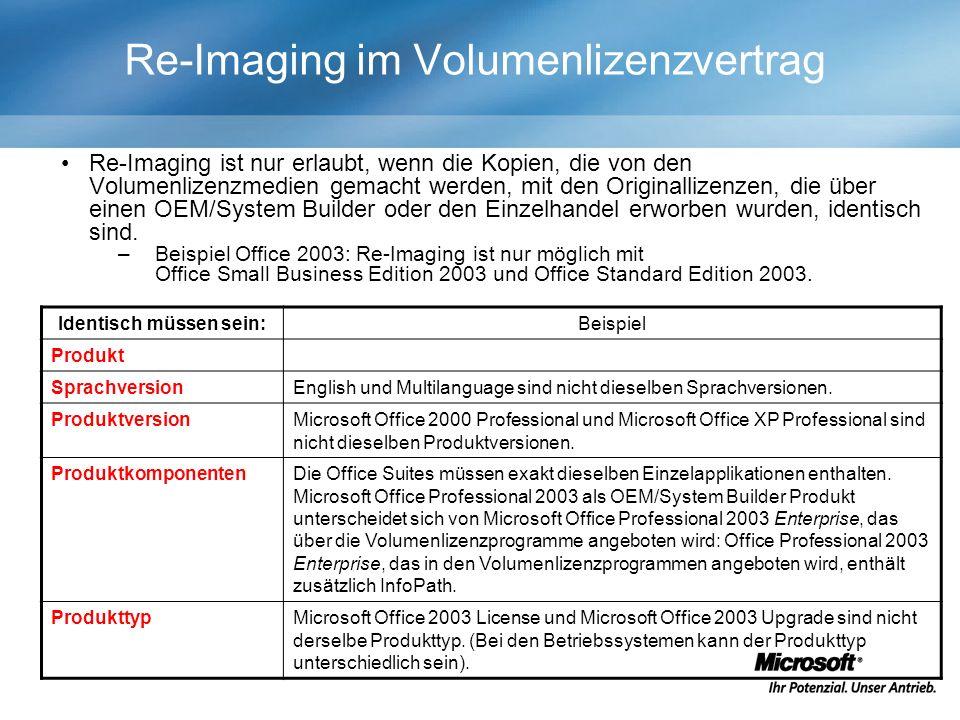 Re-Imaging im Volumenlizenzvertrag Identisch müssen sein:Beispiel Produkt SprachversionEnglish und Multilanguage sind nicht dieselben Sprachversionen.